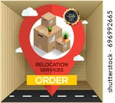 relocation services concept.... | Shutterstock .eps vector #696992665