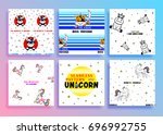 set of seamless pattern with... | Shutterstock .eps vector #696992755