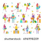 characters on shopping with... | Shutterstock .eps vector #696998209