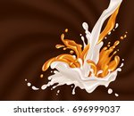 milk and caramel flow.... | Shutterstock .eps vector #696999037