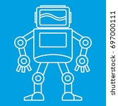 robot with monitor head icon... | Shutterstock .eps vector #697000111
