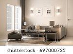 interior living studio ... | Shutterstock . vector #697000735