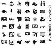 cartography icons set. simple... | Shutterstock .eps vector #697003474