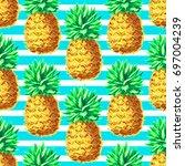 pineapple seamless pattern....   Shutterstock .eps vector #697004239