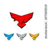 falcon logo set. a bird with...   Shutterstock .eps vector #697005019