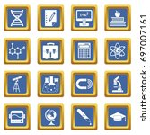 education icons set in blue...   Shutterstock .eps vector #697007161