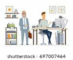 supervising staff   vector... | Shutterstock .eps vector #697007464