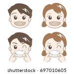 orthodontia of boys and girls   ... | Shutterstock .eps vector #697010605