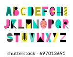 hand drawn summer creative... | Shutterstock .eps vector #697013695