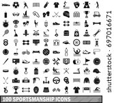 100 sportsmanship icons set in... | Shutterstock .eps vector #697016671