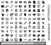 100 internet banking icons set... | Shutterstock .eps vector #697016911