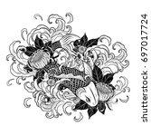 koi fish and chrysanthemum... | Shutterstock .eps vector #697017724