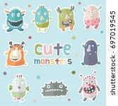 cute monsters vector   Shutterstock .eps vector #697019545