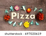 pizza lettering.wood letters... | Shutterstock . vector #697020619