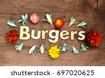 burgers lettering.wood letters ... | Shutterstock . vector #697020625