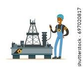 oilman inspecting equipment on... | Shutterstock .eps vector #697020817
