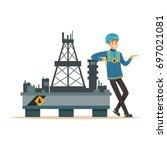 oilman standing next to an oil... | Shutterstock .eps vector #697021081