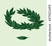 laurel crown  hand drawn doodle ... | Shutterstock .eps vector #697021495