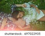happy loving couple having fun...   Shutterstock . vector #697022935