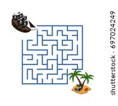 maze in cartoon style. pirate... | Shutterstock .eps vector #697024249