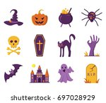 halloween icons. vector... | Shutterstock .eps vector #697028929
