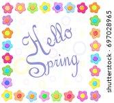 sticker spring flower set frame | Shutterstock . vector #697028965