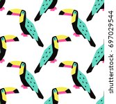 funny summer tropical pattern... | Shutterstock .eps vector #697029544