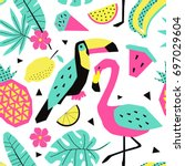 funny summer tropical pattern... | Shutterstock .eps vector #697029604