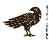 raven hand drawn in celtic... | Shutterstock .eps vector #697032601
