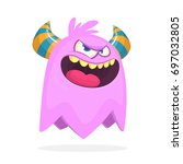 angry cartoon monster with... | Shutterstock .eps vector #697032805