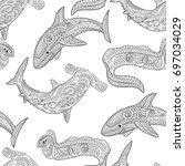 oceanic animals zentangle... | Shutterstock .eps vector #697034029