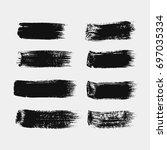 set of black horizontal vector... | Shutterstock .eps vector #697035334