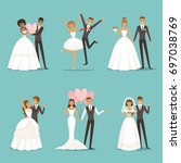 married couple characters set.... | Shutterstock .eps vector #697038769