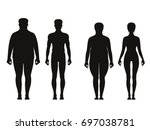 silhouette of fat and thin... | Shutterstock .eps vector #697038781