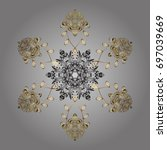 hand drawn antistress snowflake....   Shutterstock .eps vector #697039669