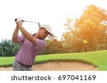 man player golf swing shot... | Shutterstock . vector #697041169