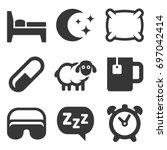 sleeping icons set on white... | Shutterstock .eps vector #697042414
