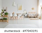 white trendy apartment with... | Shutterstock . vector #697043191