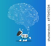 ai dog robot with mechanism... | Shutterstock .eps vector #697045234