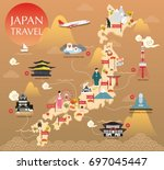 japan landmark icons map for... | Shutterstock .eps vector #697045447