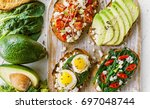 tasty and delicious bruschetta... | Shutterstock . vector #697048744