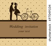invitation card with newlyweds... | Shutterstock . vector #697049104