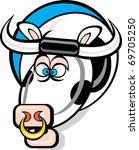 Cartoon Bull With Head Peering...