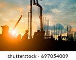 silhouette construction... | Shutterstock . vector #697054009