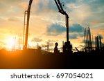 silhouette construction... | Shutterstock . vector #697054021