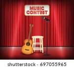 music contest stage with guitar ... | Shutterstock .eps vector #697055965