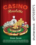casino roulette with money and... | Shutterstock .eps vector #697055971