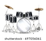 Real Black Drum Set On A White...