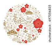 japanese icon vector. red and... | Shutterstock .eps vector #697056835