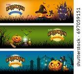 halloween banner set design ... | Shutterstock .eps vector #697059151